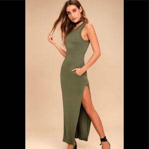 Lulu's Olive Green Sleeveless Maxi Dress